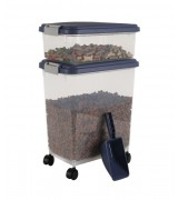 IRIS Weathertight Storage Container & Scoop Combo, Blue Indigo