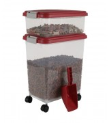 IRIS Weathertight Storage Container & Scoop Combo, Garnet Red