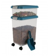 IRIS Weathertight Storage Container & Scoop Combo, Blue Moon