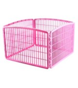 IRIS 4-Panel Plastic Pet Pen, Pink