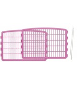 2 Plastic Play Pen Panels with 2 Pins for IRIS CI-604 CI-600, Pink
