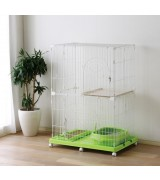 IRIS 2 Tier Wire Cat Cage - Green