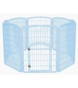 IRIS 8-Panel Plastic Pet Pen, Blue