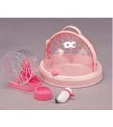 Small Animal Cage Carrier with Wheel Runner Toy DH-300 Pink