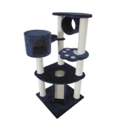 Cat Tree with Scratching Posts and Cubby Hole, Navy