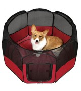 IRIS Portable Soft Sided Pet Pen w/Top, Red
