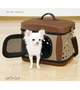 Folding Pet Travel Carrier, Brown/Beige, OPC-420