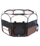 IRIS Portable Soft Sided Pet Pen w/Top, Brown