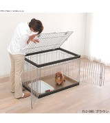 IRIS Wire Pet Cage w/Top & Front Door, Brown