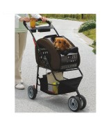 IRIS Adjustable 4-Way Pet Stroller, Brown