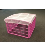 IRIS 4-Panel Plastic Pet Pen w/Mesh Roof, Pink