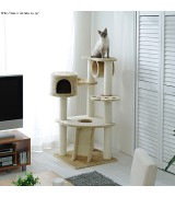 Beige Cat Tower with Scratching Posts and Cubby Hole