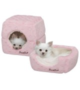 Pecalle 2 in 1 Cat or Dog Pet Bed/Cube House w/Removable Cushion, Pink