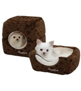 Pecalle 2 in 1 Cat or Dog Pet Bed/Cube House w/Removable Cushion, Brown