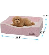 Pecalle Medium Pet Dog Bed w/Removable Cushion, Pink