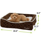 Pecalle Medium Pet Dog Bed w/Removable Cushion, Brown