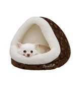 Pecalle Dome Shaped Pet Bed w/Removable Cushion, Brown