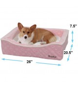 Pecalle Large Pet Dog Bed w/Removable Cushion, Pink