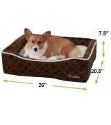 Pecalle Large Pet Dog Bed w/Removable Cushion, Brown