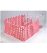 AcePet Wire and Plastic Pet Cage with Fence - Pink