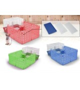 AcePet  Wire and Plastic Small Animal Cage with Fence - Blue