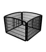 IRIS 4-Panel Plastic Pet Pen, Black
