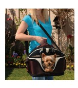 Portable Soft Sided Home & Away Pet Carrier, Brown