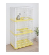 IRIS 3-level Plastic Pet Cat Cage, PC-813, Yellow