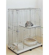 IRIS 2-Tier Wire Cat Cage, Silver