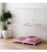 IRIS 2-Tier Wire Cat Cage Set, Pink