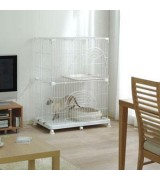 IRIS 2-Tier Wire Cat Cage, White
