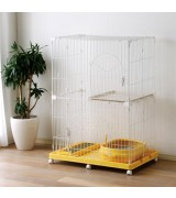 IRIS 2-Tier Wire Cat Cage Set, Yellow