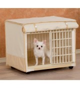 IRIS Plastic Pet Crate w/Fabric Cover