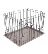 IRIS Deluxe Small Wire Containment Cage Pen for Dogs, Light Brown