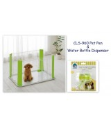 IRIS Wire Pet Pen & Water Bottle Dispenser Set, Green